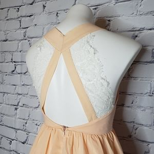 Tobi Dresses - Peach and Lace Skater Dress